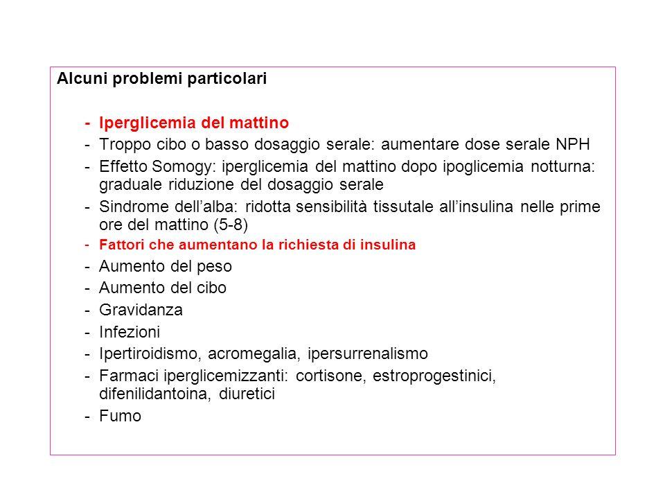 Alcuni problemi particolari - Iperglicemia del mattino -Troppo cibo o basso dosaggio serale: aumentare dose serale NPH -Effetto Somogy: iperglicemia d