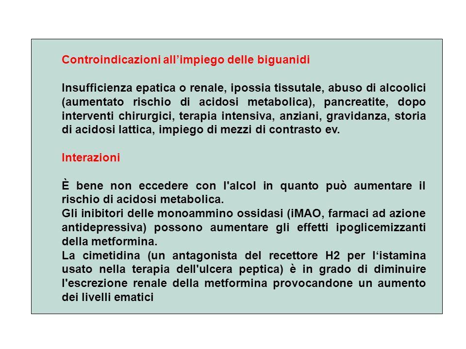 Controindicazioni allimpiego delle biguanidi Insufficienza epatica o renale, ipossia tissutale, abuso di alcoolici (aumentato rischio di acidosi metab