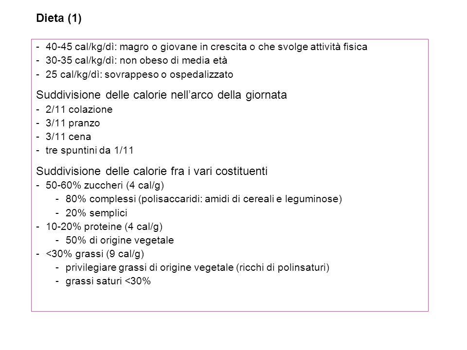 Alcool (9 cal/g) -Ridurre lapporto: favorisce acidosi lattica, può aggravare neuropatia e ipertrigliceridemia, ostacola gliconeogenesi Fibre alimentari (crusca con almeno 40% di fibre) -Aggiungerne alla dieta 40 g/dì: riducono colesterolo, trigliceridi e, con meccanismo non chiaro, lassorbimento dei carboidrati Sali minerali e vitamine -Sulla base del fabbisogno Dolcificanti -Saccarina -Aspartame (ac.