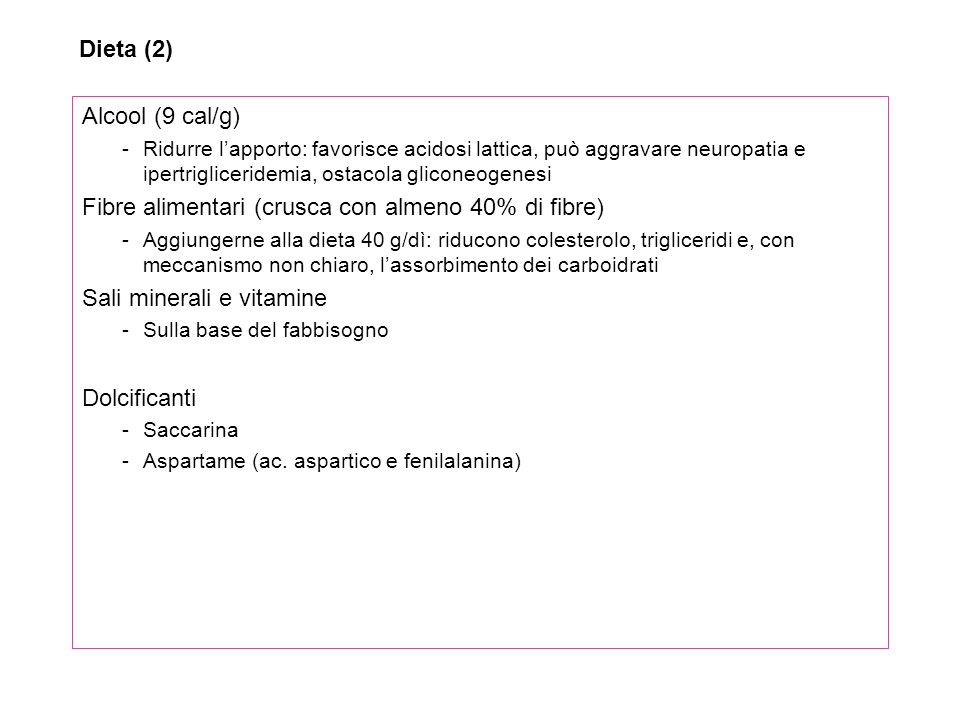 Alcool (9 cal/g) -Ridurre lapporto: favorisce acidosi lattica, può aggravare neuropatia e ipertrigliceridemia, ostacola gliconeogenesi Fibre alimentar