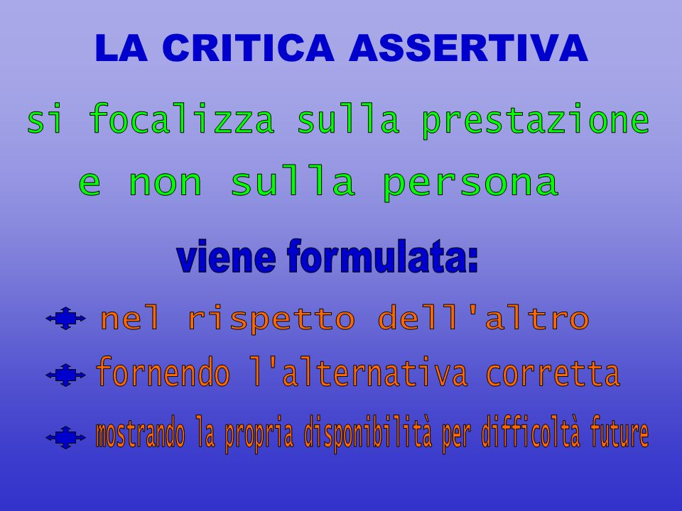 (3) LA CRITICA MANIPOLATIVA differenza È più diretta ed aggressiva È viscida e pacata In comune Si esprime con