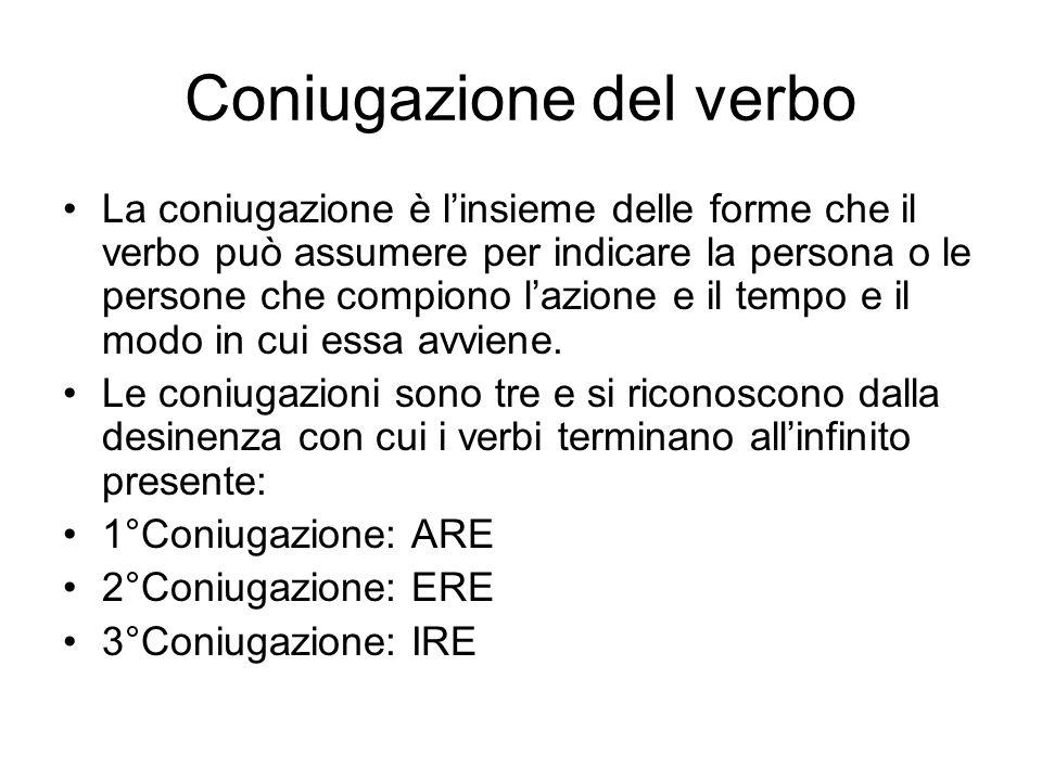Coniugazione del verbo La coniugazione è linsieme delle forme che il verbo può assumere per indicare la persona o le persone che compiono lazione e il