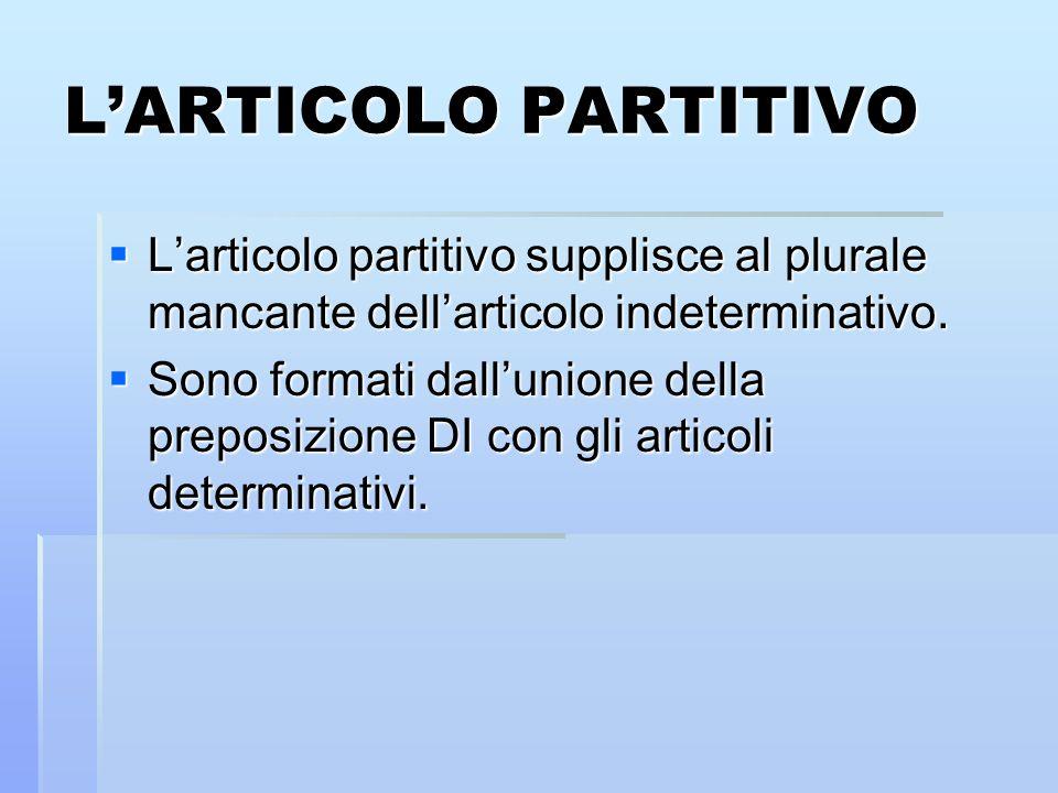 LARTICOLO PARTITIVO Larticolo partitivo supplisce al plurale mancante dellarticolo indeterminativo. Larticolo partitivo supplisce al plurale mancante