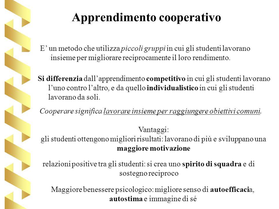Apprendimento cooperativo E un metodo che utilizza piccoli gruppi in cui gli studenti lavorano insieme per migliorare reciprocamente il loro rendiment
