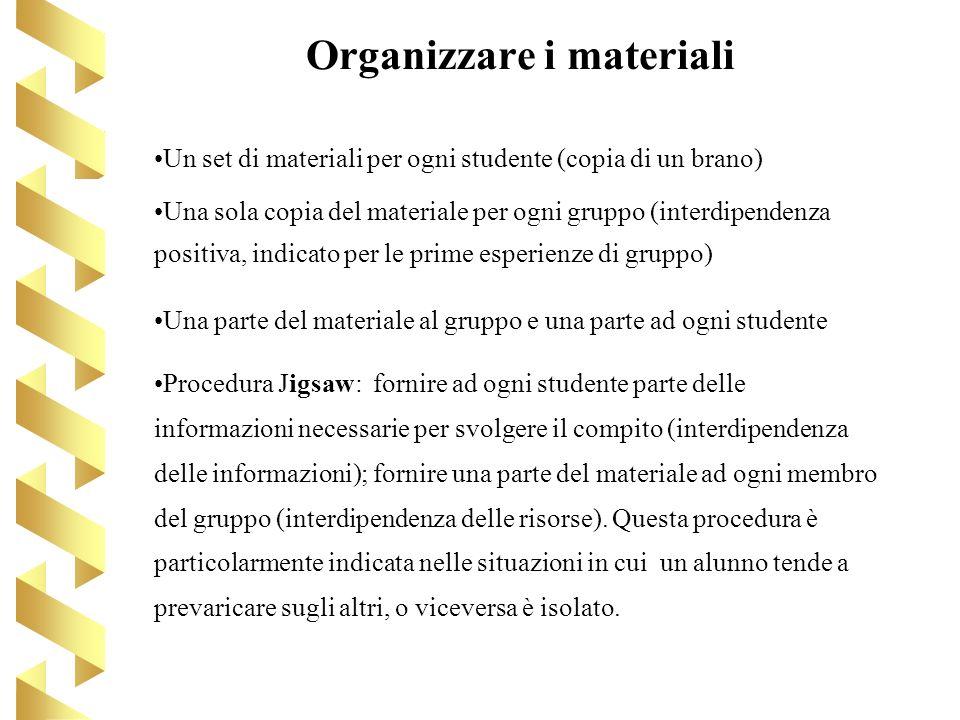 Organizzare i materiali Un set di materiali per ogni studente (copia di un brano) Una sola copia del materiale per ogni gruppo (interdipendenza positi