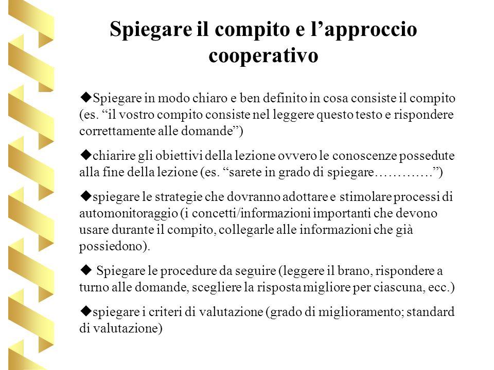 Spiegare il compito e lapproccio cooperativo Spiegare in modo chiaro e ben definito in cosa consiste il compito (es. il vostro compito consiste nel le
