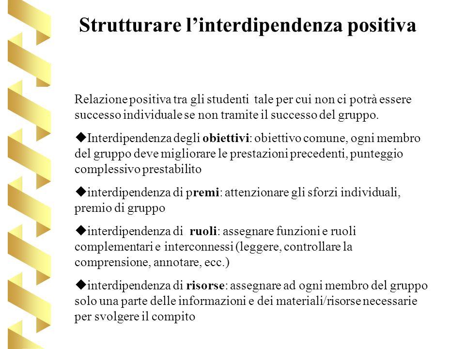 Strutturare linterdipendenza positiva Relazione positiva tra gli studenti tale per cui non ci potrà essere successo individuale se non tramite il succ