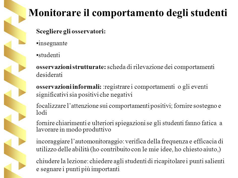 Monitorare il comportamento degli studenti Scegliere gli osservatori: insegnante studenti osservazioni strutturate: scheda di rilevazione dei comporta