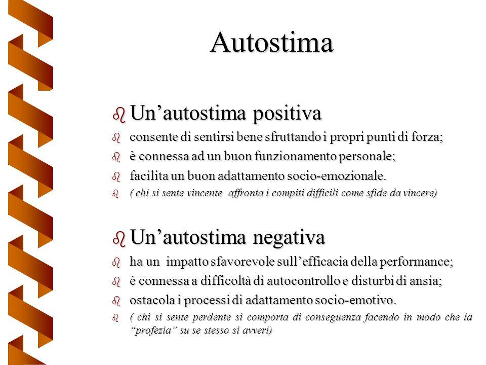 Autostima b Unautostima positiva b consente di sentirsi bene sfruttando i propri punti di forza; b è connessa ad un buon funzionamento personale; b fa