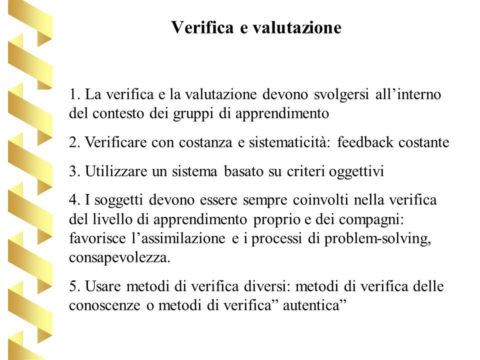 Verifica e valutazione 1. La verifica e la valutazione devono svolgersi allinterno del contesto dei gruppi di apprendimento 2. Verificare con costanza