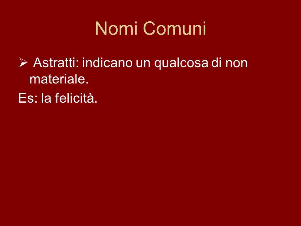 Nomi Comuni Astratti: indicano un qualcosa di non materiale. Es: la felicità.
