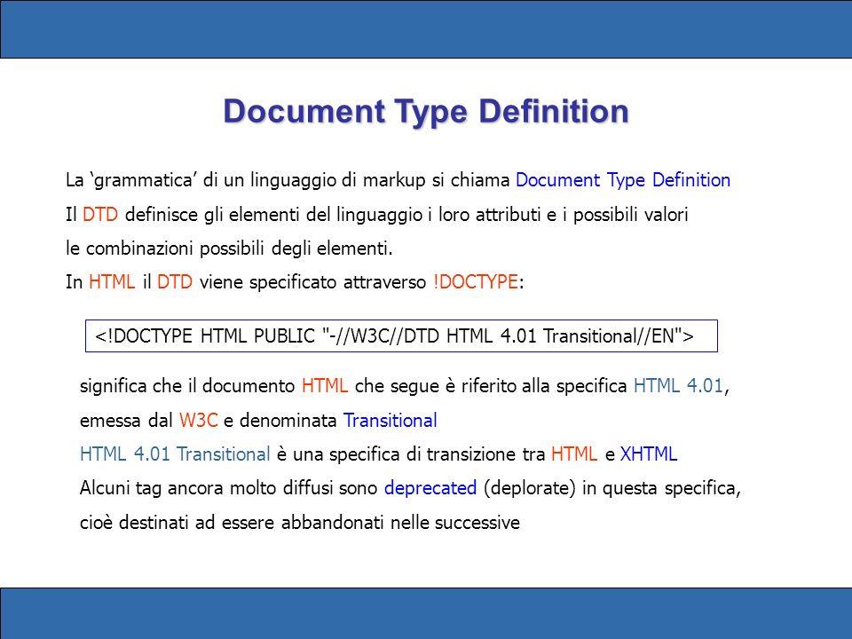La grammatica di un linguaggio di markup si chiama Document Type Definition Il DTD definisce gli elementi del linguaggio i loro attributi e i possibili valori le combinazioni possibili degli elementi.