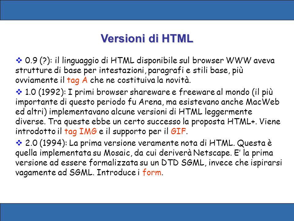 Versioni di HTML 0.9 (?): il linguaggio di HTML disponibile sul browser WWW aveva strutture di base per intestazioni, paragrafi e stili base, più ovviamente il tag A che ne costituiva la novità.