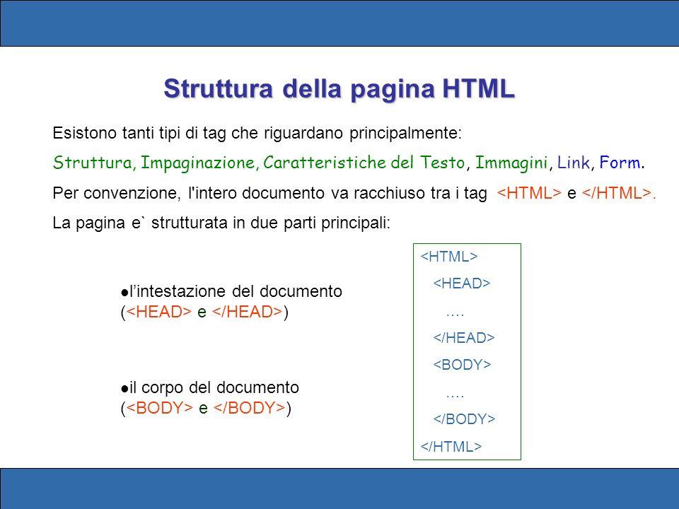 Struttura della pagina HTML Esistono tanti tipi di tag che riguardano principalmente: Struttura, Impaginazione, Caratteristiche del Testo, Immagini, L