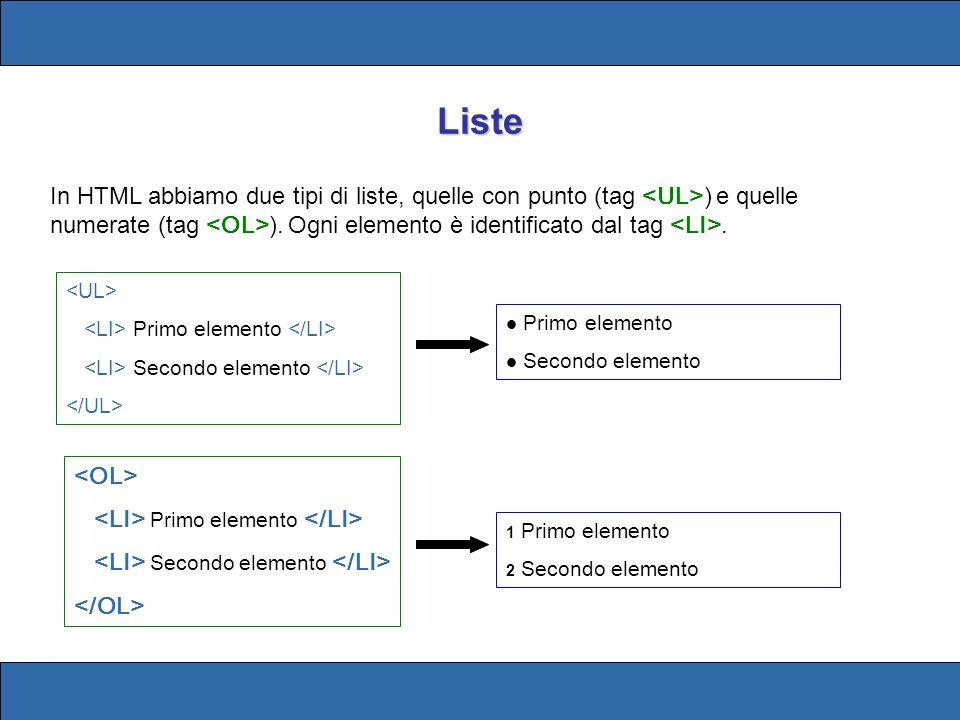 Liste In HTML abbiamo due tipi di liste, quelle con punto (tag ) e quelle numerate (tag ).