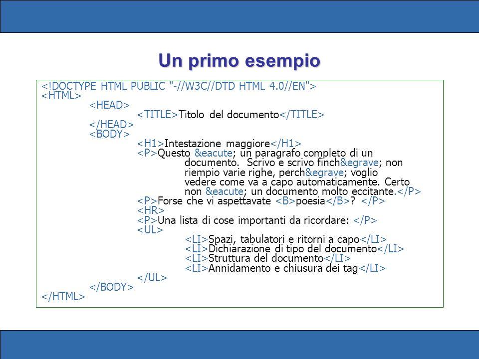 Un primo esempio Titolo del documento Intestazione maggiore Questo é un paragrafo completo di un documento.