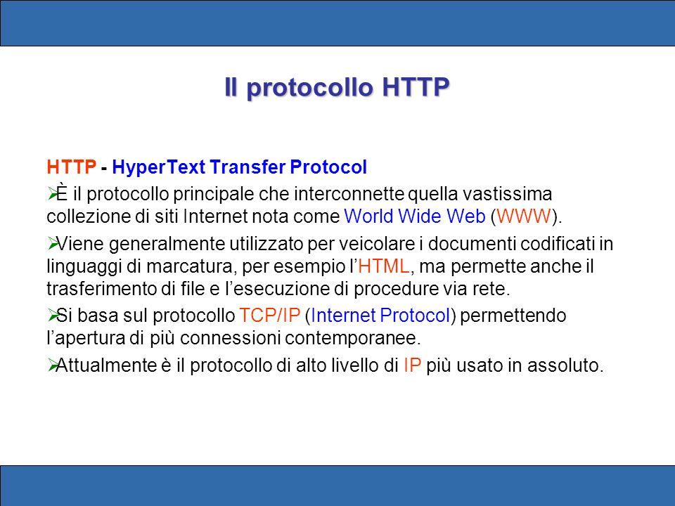 HTTP - HyperText Transfer Protocol È il protocollo principale che interconnette quella vastissima collezione di siti Internet nota come World Wide Web