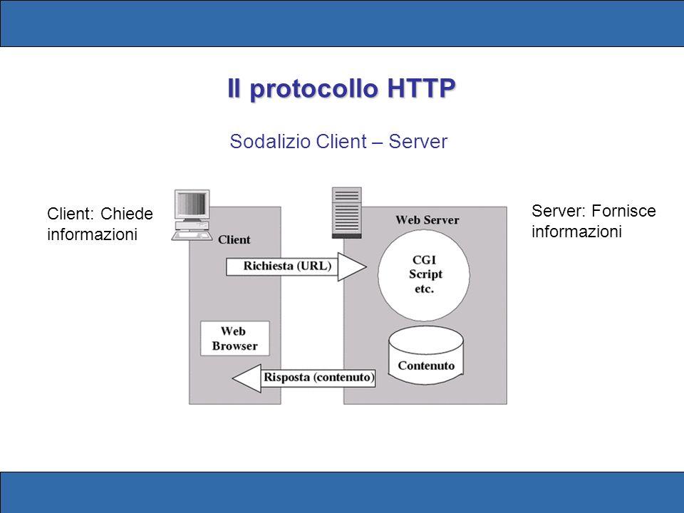 Il Server HTTP socket È un programma che gira su un server in attesa di una richiesta di connessione sul suo socket (la porta assegnatagli, tipicamente la 80) interfaccia Il server HTTP svolge un ruolo di interfaccia tra il client remoto che effettua delle richieste (attraverso le URL) sul socket ed il sistema che lo ospita (la macchina server), su cui sono disponibili le risorse (file, pagine web, applicativi) URL (Uniform Resource Locator): è il modo formalizzato per la locazione e laccesso alle risorse di internet (indirizzi WEB)