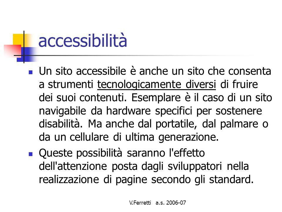 V.Ferretti a.s. 2006-07 Accessibilita un requisito legale, un processo, un opportunita