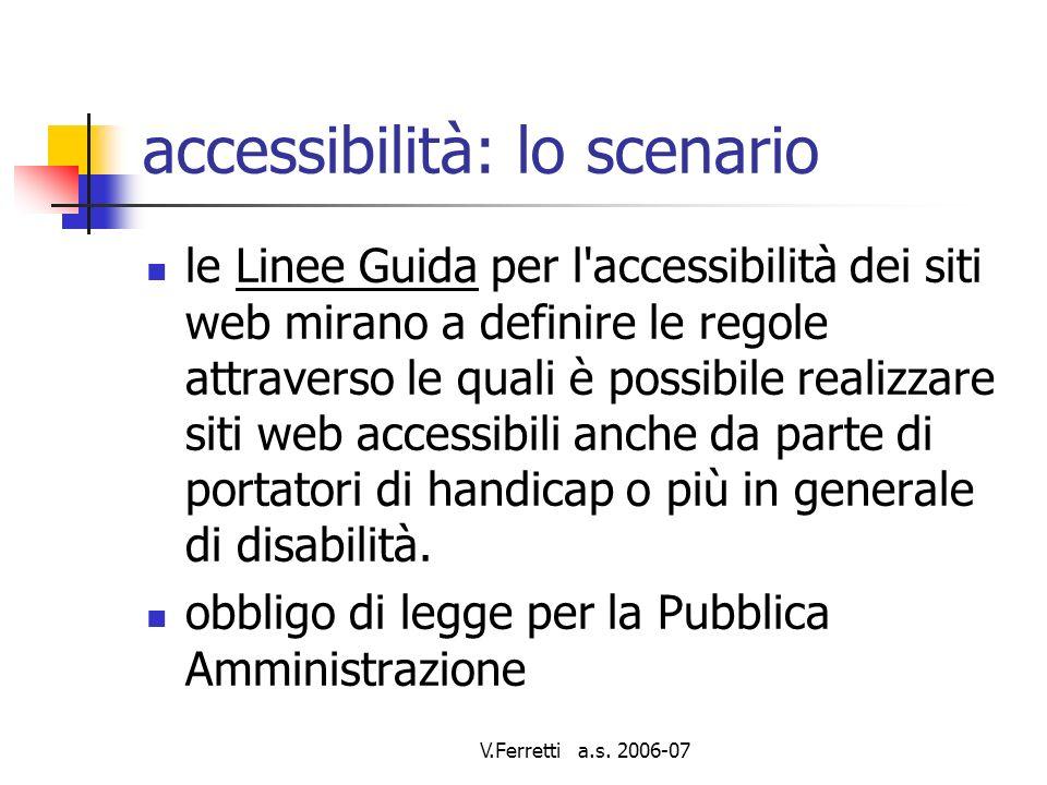 V.Ferretti a.s.2006-07 accessibilità: la normativa Legge n° 4 del 9/1/2004 (Legge Stanca).