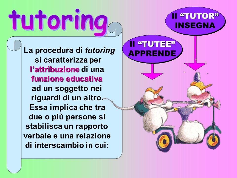 La procedura di tutoring si caratterizza per lattribuzione lattribuzione di una funzione educativa ad un soggetto nei riguardi di un altro.
