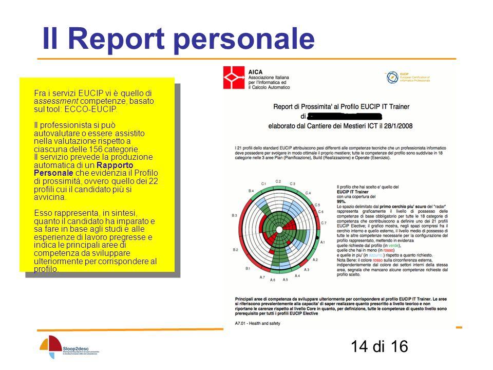 14 di 16 Il Report personale Fra i servizi EUCIP vi è quello di assessment competenze, basato sul tool: ECCO-EUCIP.