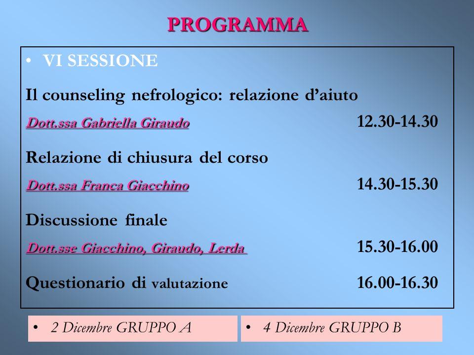PROGRAMMA VI SESSIONE Il counseling nefrologico: relazione daiuto Dott.ssa Gabriella Giraudo Dott.ssa Gabriella Giraudo 12.30-14.30 Relazione di chius