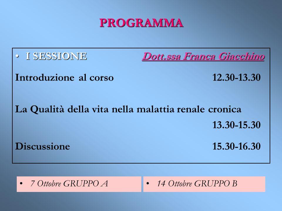 PROGRAMMA I SESSIONE Dott.ssa Franca GiacchinoI SESSIONE Dott.ssa Franca Giacchino Introduzione al corso 12.30-13.30 La Qualità della vita nella malat