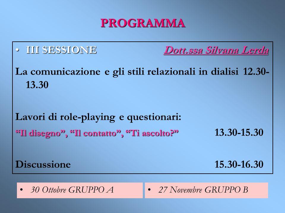 PROGRAMMA III SESSIONE Dott.ssa Silvana LerdaIII SESSIONE Dott.ssa Silvana Lerda La comunicazione e gli stili relazionali in dialisi 12.30- 13.30 Lavo