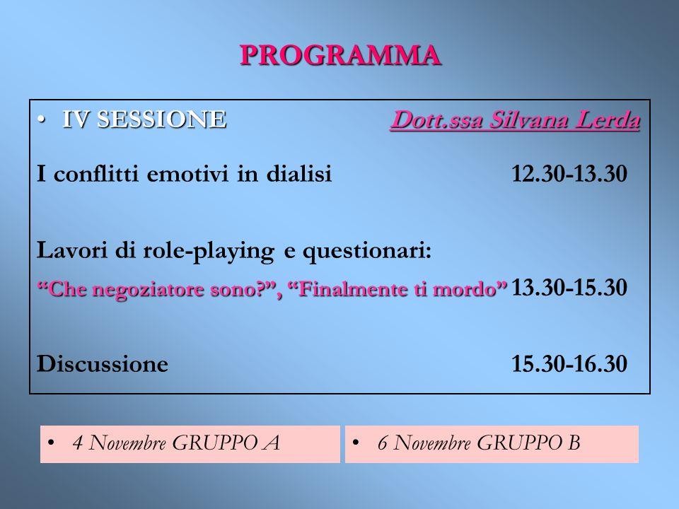 PROGRAMMA IV SESSIONE Dott.ssa Silvana LerdaIV SESSIONE Dott.ssa Silvana Lerda I conflitti emotivi in dialisi12.30-13.30 Lavori di role-playing e ques
