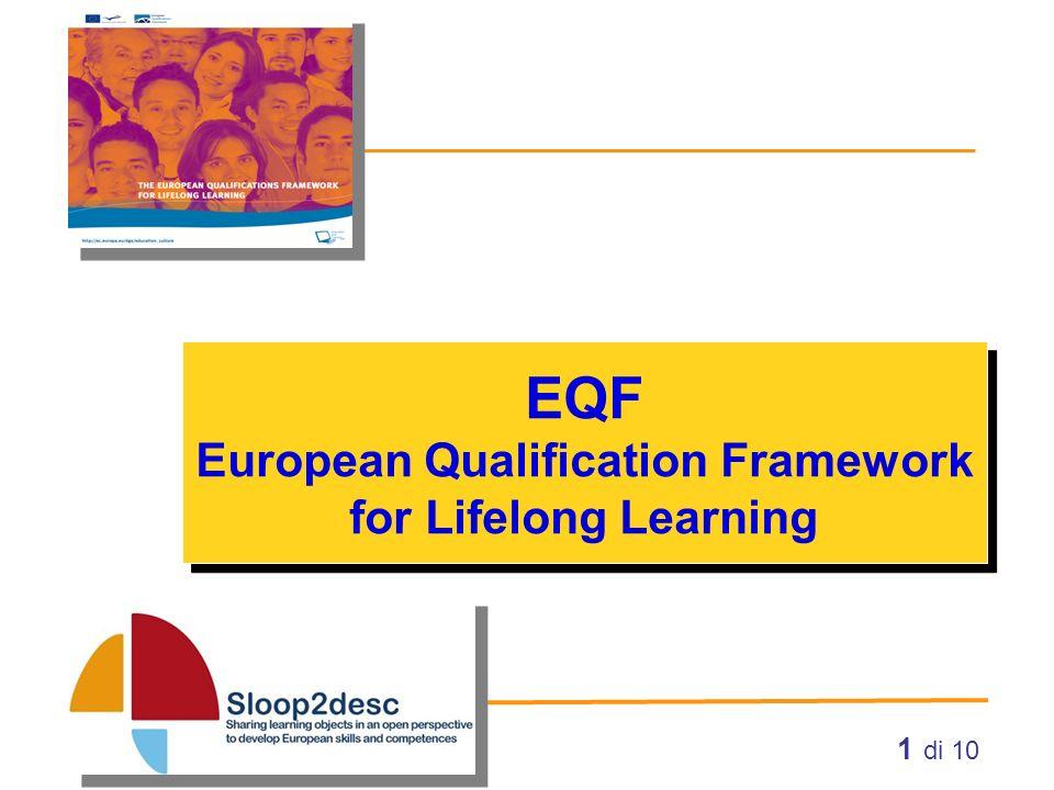 2 di 10 EQF: obiettivi e percorso Quadro europeo delle qualifiche per l apprendimento permanente La definizione dell EQF ebbe inizio nel 2004.