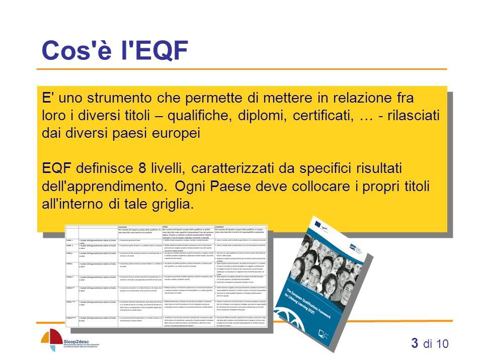 3 di 10 Cos'è l'EQF E' uno strumento che permette di mettere in relazione fra loro i diversi titoli – qualifiche, diplomi, certificati, … - rilasciati