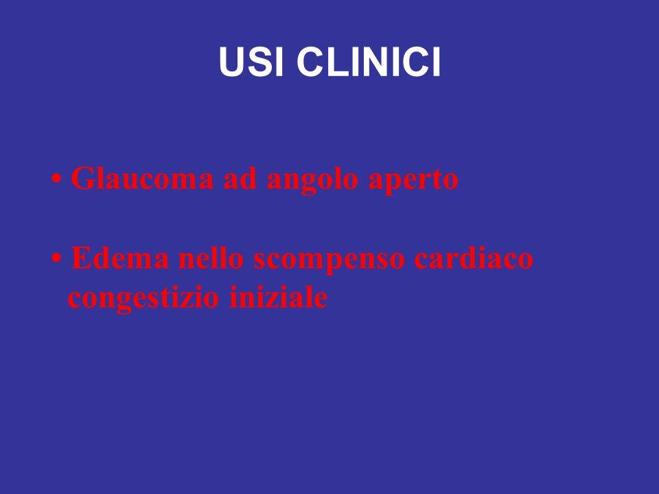 USI CLINICI Glaucoma ad angolo aperto Edema nello scompenso cardiaco congestizio iniziale