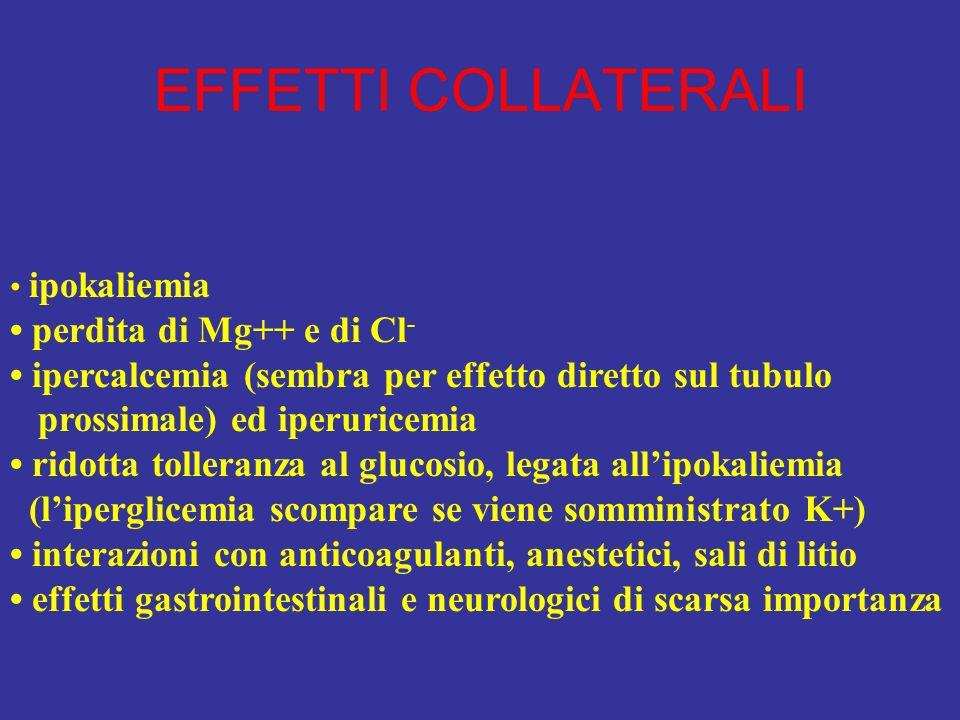 EFFETTI COLLATERALI ipokaliemia perdita di Mg++ e di Cl - ipercalcemia (sembra per effetto diretto sul tubulo prossimale) ed iperuricemia ridotta toll