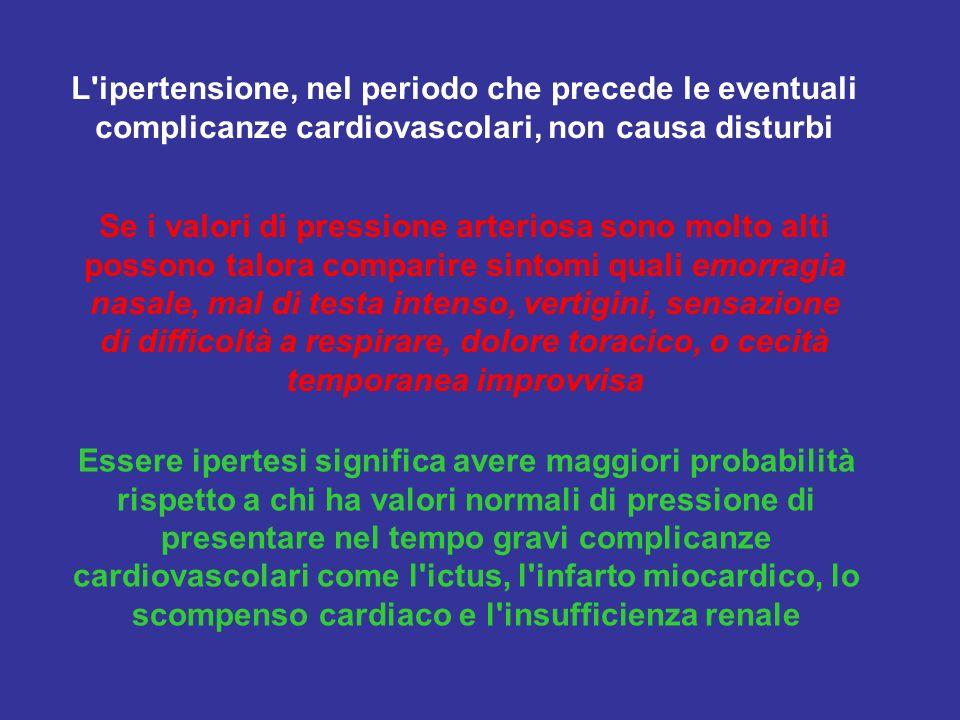 L'ipertensione, nel periodo che precede le eventuali complicanze cardiovascolari, non causa disturbi Se i valori di pressione arteriosa sono molto alt