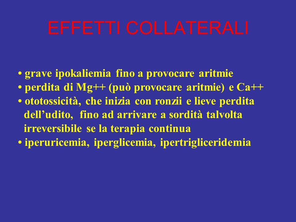 EFFETTI COLLATERALI grave ipokaliemia fino a provocare aritmie perdita di Mg++ (può provocare aritmie) e Ca++ ototossicità, che inizia con ronzii e li