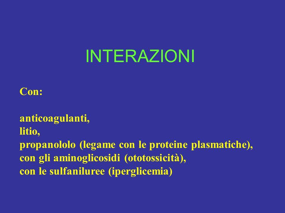 INTERAZIONI Con: anticoagulanti, litio, propanololo (legame con le proteine plasmatiche), con gli aminoglicosidi (ototossicità), con le sulfaniluree (