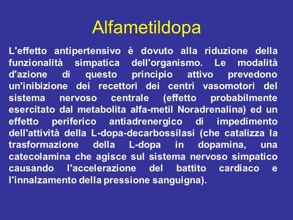 Alfametildopa L'effetto antipertensivo è dovuto alla riduzione della funzionalità simpatica dell'organismo. Le modalità d'azione di questo principio a