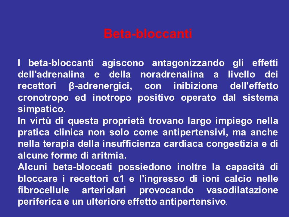 Beta-bloccanti I beta-bloccanti agiscono antagonizzando gli effetti dell'adrenalina e della noradrenalina a livello dei recettori β-adrenergici, con i