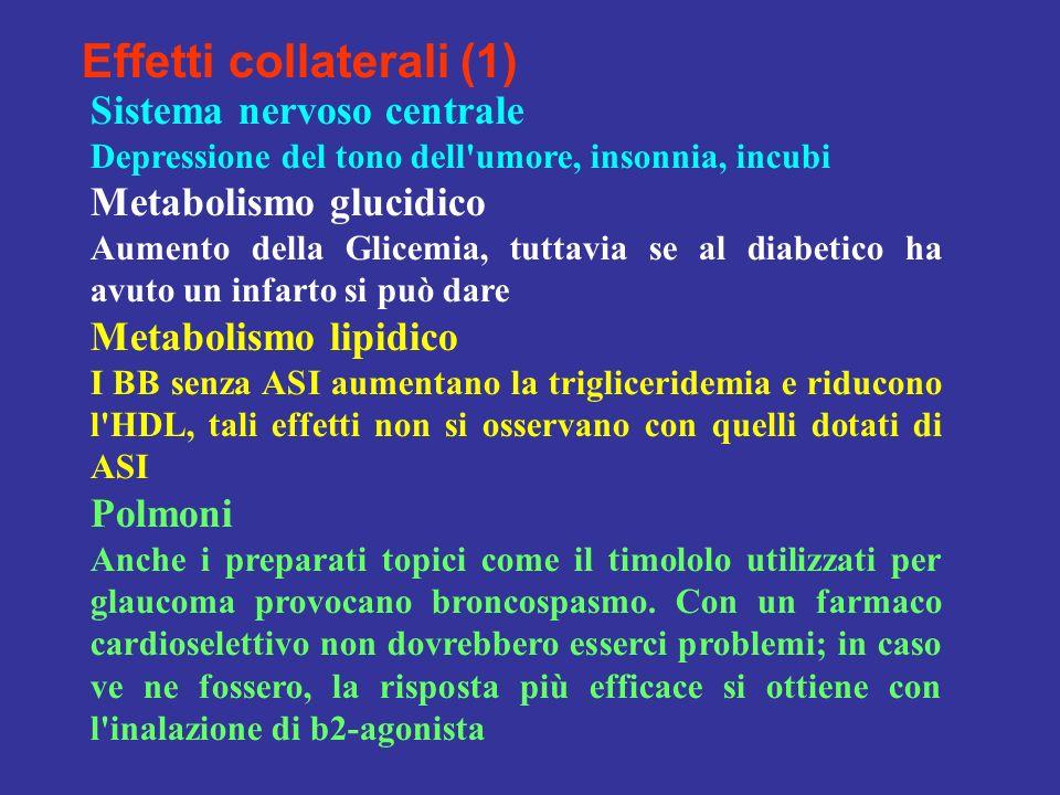 Effetti collaterali (1) Sistema nervoso centrale Depressione del tono dell'umore, insonnia, incubi Metabolismo glucidico Aumento della Glicemia, tutta