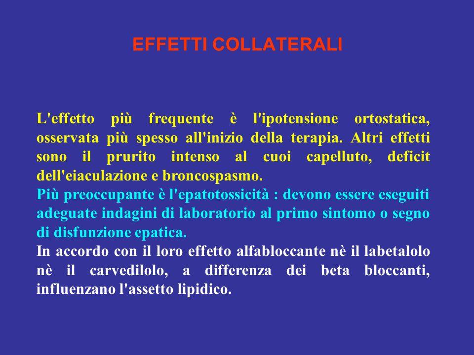 EFFETTI COLLATERALI L'effetto più frequente è l'ipotensione ortostatica, osservata più spesso all'inizio della terapia. Altri effetti sono il prurito