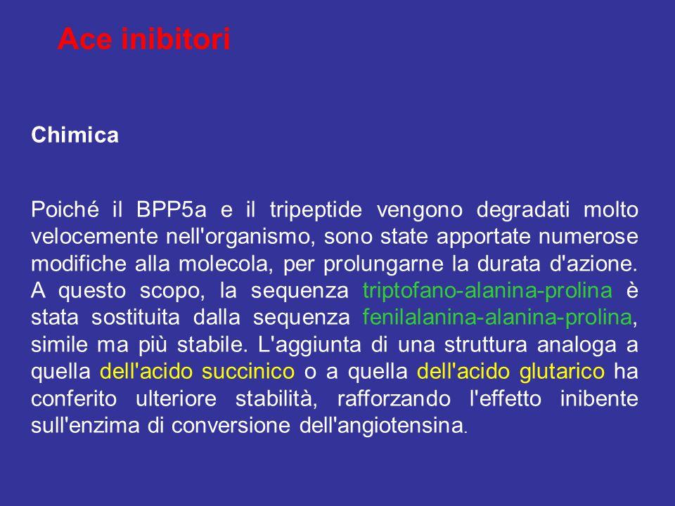 Chimica Poiché il BPP5a e il tripeptide vengono degradati molto velocemente nell'organismo, sono state apportate numerose modifiche alla molecola, per