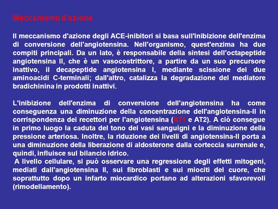 Meccanismo d'azione Il meccanismo d'azione degli ACE-inibitori si basa sull'inibizione dell'enzima di conversione dell'angiotensina. Nell'organismo, q