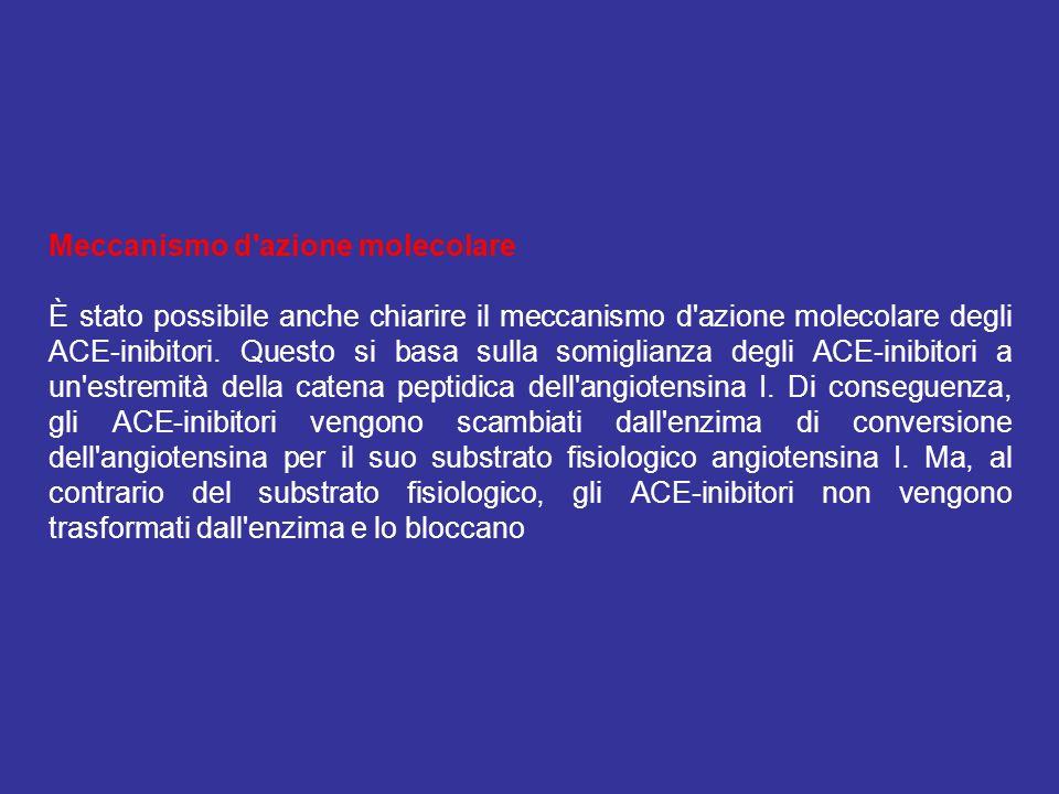 Meccanismo d'azione molecolare È stato possibile anche chiarire il meccanismo d'azione molecolare degli ACE-inibitori. Questo si basa sulla somiglianz