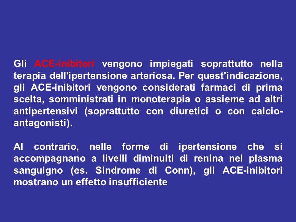 Gli ACE-inibitori vengono impiegati soprattutto nella terapia dell'ipertensione arteriosa. Per quest'indicazione, gli ACE-inibitori vengono considerat