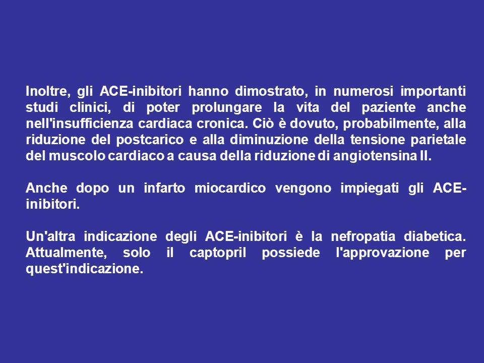 Inoltre, gli ACE-inibitori hanno dimostrato, in numerosi importanti studi clinici, di poter prolungare la vita del paziente anche nell'insufficienza c
