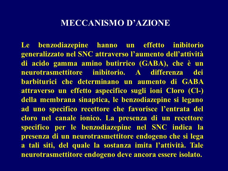 Le benzodiazepine hanno un effetto inibitorio generalizzato nel SNC attraverso laumento dellattività di acido gamma amino butirrico (GABA), che è un n
