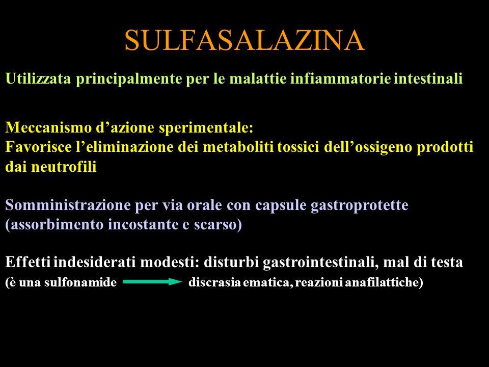 SULFASALAZINA Utilizzata principalmente per le malattie infiammatorie intestinali Meccanismo dazione sperimentale: Favorisce leliminazione dei metabol