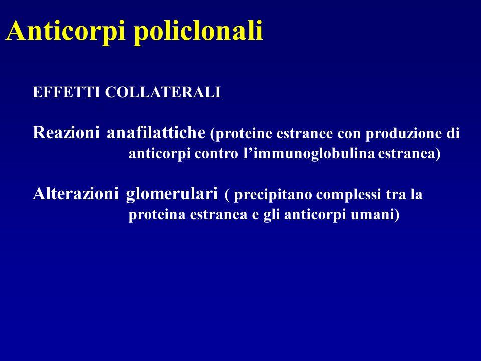 Anticorpi policlonali EFFETTI COLLATERALI Reazioni anafilattiche (proteine estranee con produzione di anticorpi contro limmunoglobulina estranea) Alte