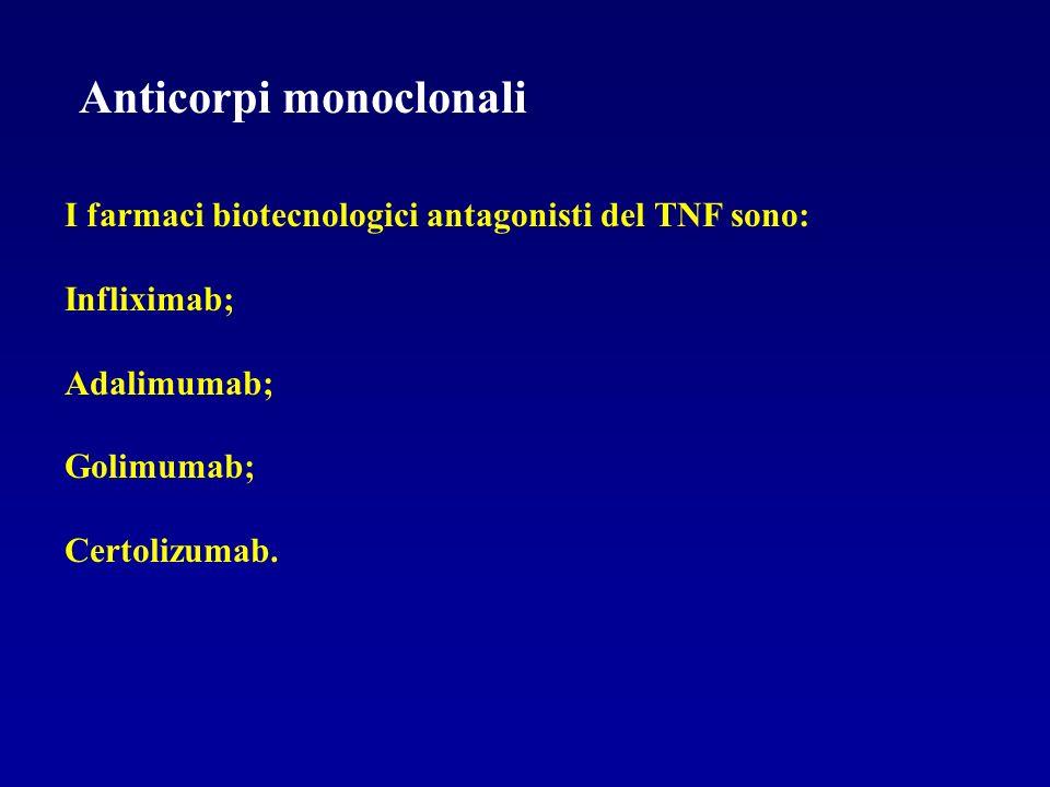 Anticorpi monoclonali I farmaci biotecnologici antagonisti del TNF sono: Infliximab; Adalimumab; Golimumab; Certolizumab.